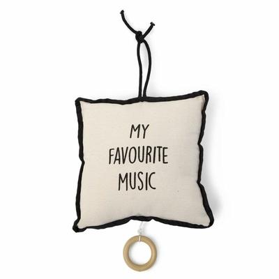 """COUSSIN MUSIQUE CANVAS BLANC - NOIR """"MY FAVOURITE MUSIC"""""""