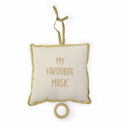 "COUSSIN MUSIQUE CANVAS BLANC - GOLD DOTS ""MY FAVOURITE MUSIC"""