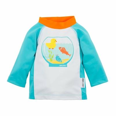 Tee-shirt anti UV bleu motif poissons
