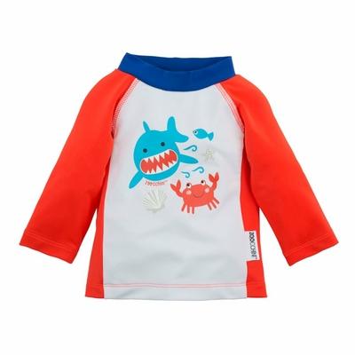 Tee-shirt anti UV rouge motif requin-crabe