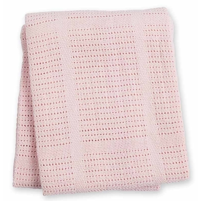 Couverture tricot rose