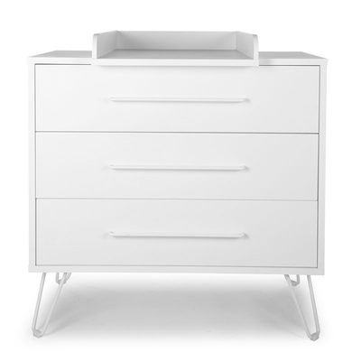 IRONWOOD WHITE COMMODE 3 TIROIRS + PLAN A LANGER