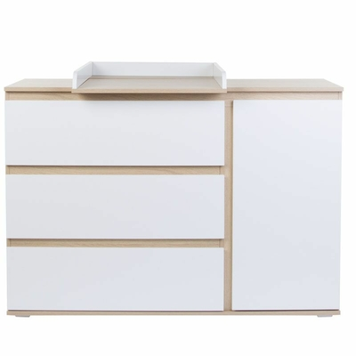 PALMA WHITE/OAK COMMODE 3 TIROIRS + PLAN A LANGER