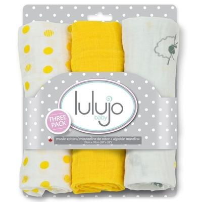 Minis langes en mousseline - Moutons gris pois jaunes