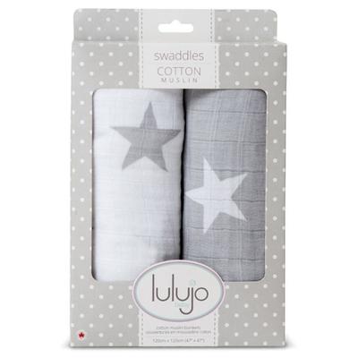 Lange Mousseline pack de 2 - étoiles grises