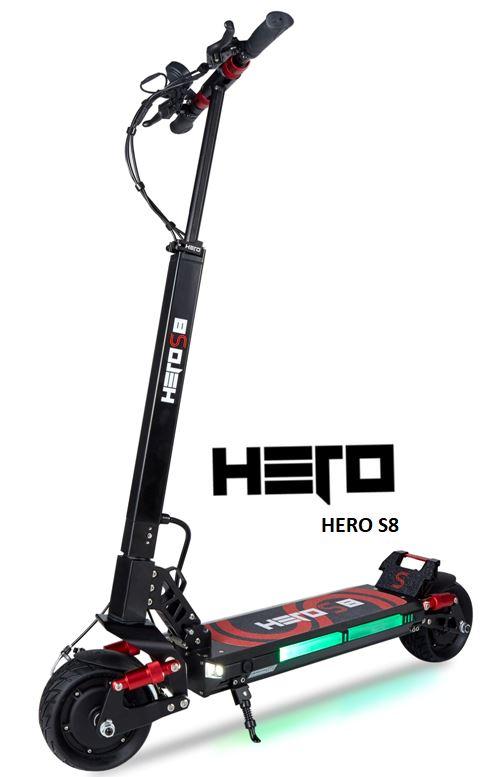 la trottinette électrique Hero S8 avec batterie Lithium Ion de 13 ampères avec suspensions avants et arrières