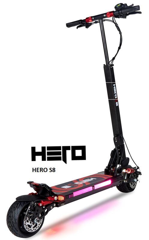 la trottinette électrique Hero S8 en 16 ampères offre un excellent confort grace à ses doubles suspensions avants et arrières