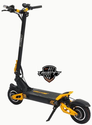 Trottinette électrique Vsett avec sa batterie de 25ampères dans le coloris noir et jaune est vendue par Citytrott