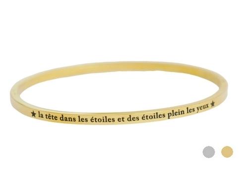 Bracelet jonc message - LA TÊTE DANS LES ÉTOILES ET DES ÉTOILES PLEIN LES YEUX - Acier Inoxydable - Ikita Paris