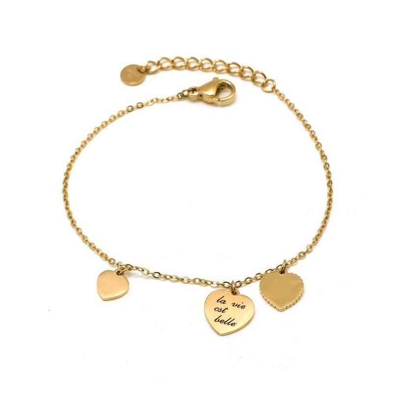 Bracelet minimaliste gravé 3 cœurs - LA VIE EST BELLE - Finition Or - Ajustable - 15 cm + 3 cm - Fin - Ikita Paris