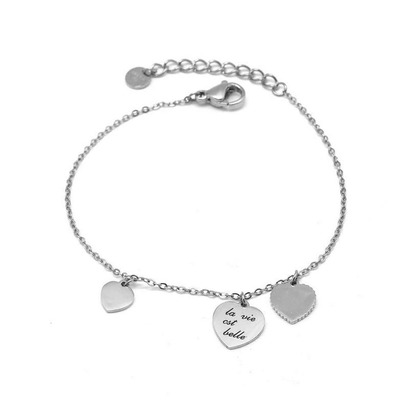 Bracelet minimaliste gravé 3 cœurs - LA VIE EST BELLE - Finition Argent - Ajustable - 15 cm + 3 cm - Fin - Ikita Paris