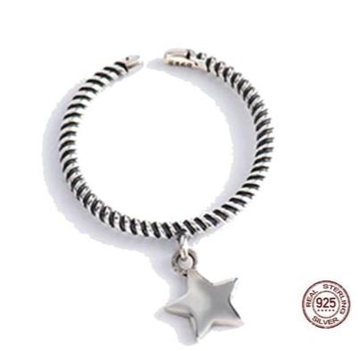 bague avec pendentif étoile - bague tressée en argent sterling-min