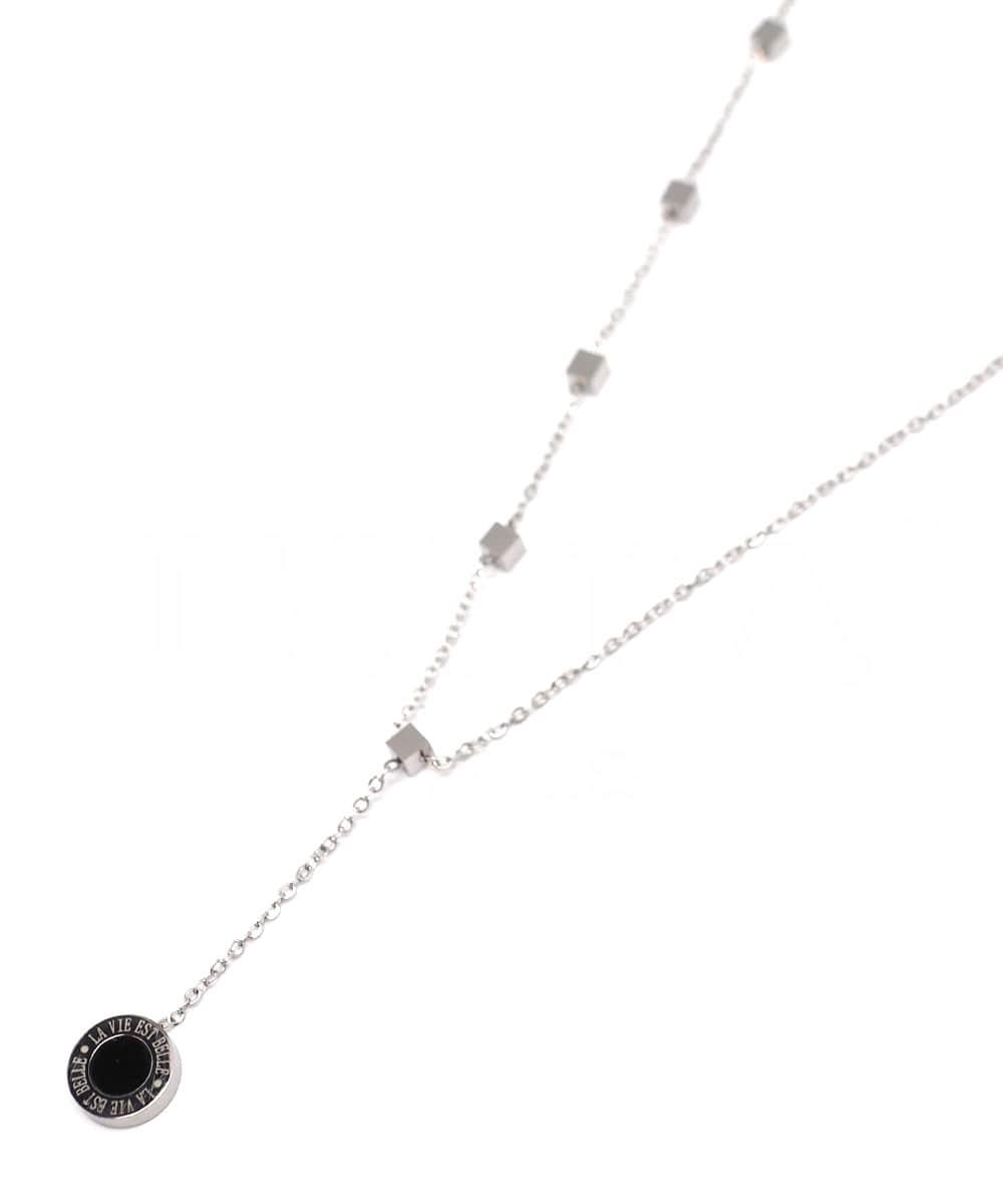 Collier ras de cou - LA VIE EST BELLE - Pendentif pendant & Minis cubes - Acier inoxydable - 38 + 4 cm - Ikita Paris