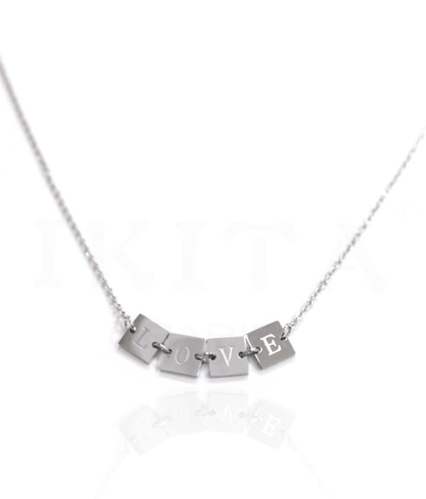 Collier & bracelet - Carrés gravés - LOVE - Acier inoxydable - Or ou Argent - 40 + 5 cm - Ikita Paris