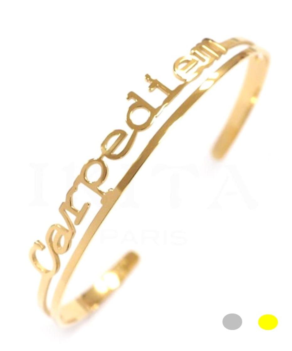 Bracelet jonc message - CARPE DIEM - Acier Inoxydable - Finition Or ou Argent – Ikita Paris