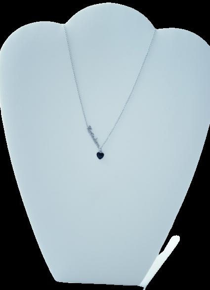 Collier CARPE DIEM - Pendentif avec écriture + cœur en émail  - Acier inoxydable - 40 + 5 cm - Collier Ikita Paris