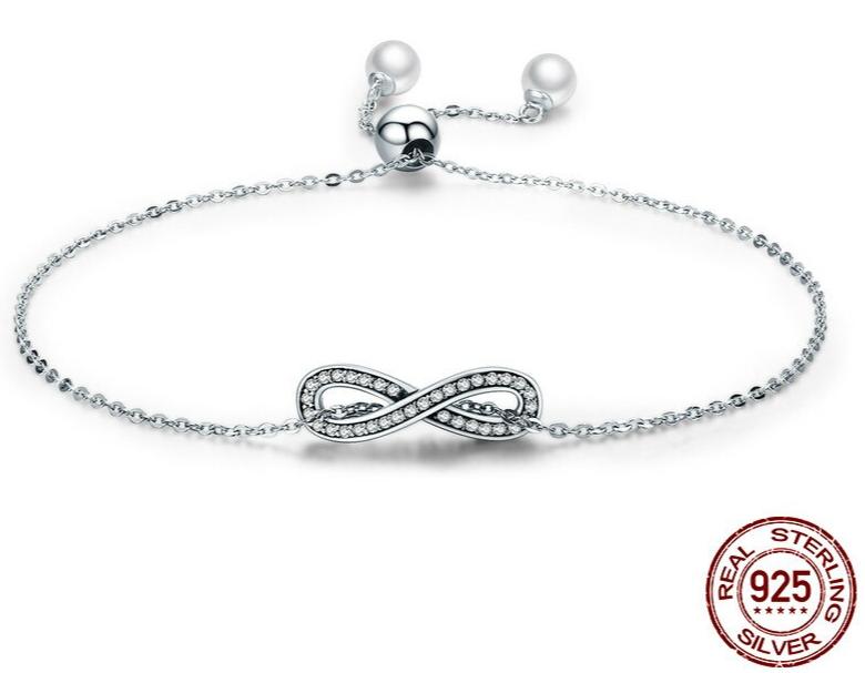 Bracelet INFINI - Argent 925 - Zircon Cubiques - Minimaliste - Perle - Ajustable - 20 cm - XS TAILLE