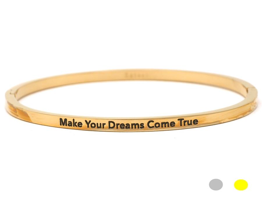 Bracelet jonc message - MAKE YOUR DREAMS COME TRUE - Acier Inoxydable – Ikita Paris