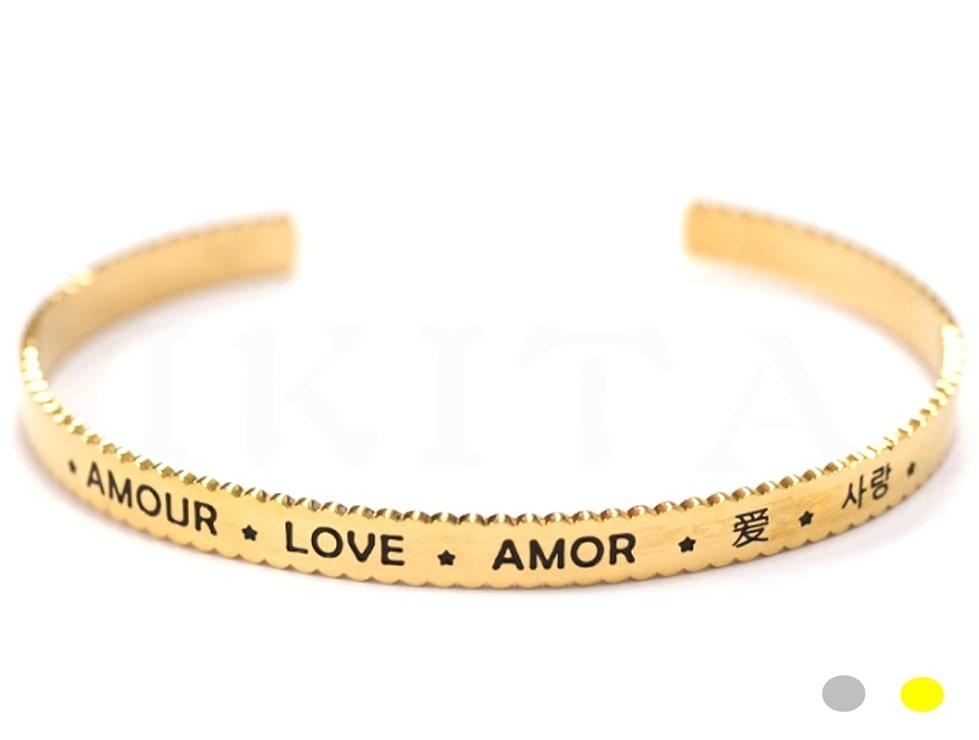Bracelet jonc message - AMOUR LOVE AMOR - Acier Inoxydable - Ikita Paris