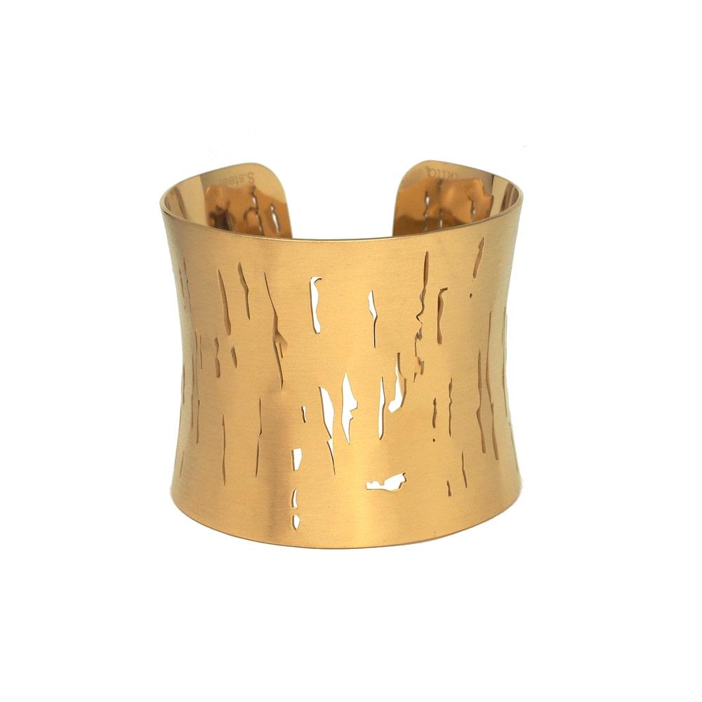 Bracelet Manchette Large - POLOMA -  Acier Inoxydable - Effet Brossé Ajouré - 50 mm - Ikita Paris2-min