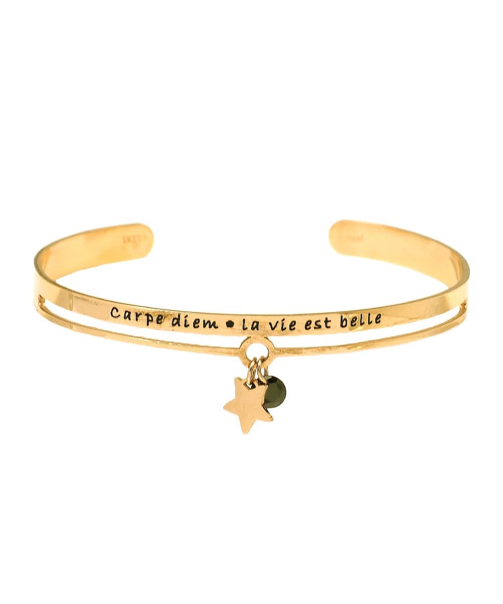 Bracelet jonc message - CARPE DIEM - LA VIE EST BELLE - Acier Inoxydable - Pendentif étoile – Ikita Paris