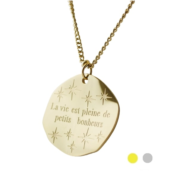 Collier Message - LA VIE EST PLEINE DE PETITS BONHEURS - Acier Inoxydable - 45 + 5 cm - Ikita Paris