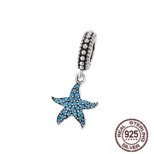 Charm Pendentif ÉTOILE DE MER - Argent 925 & Email - Bleu - Pour bracelet et collier