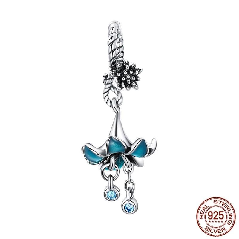 charm fleur bleue pendentif fleur bleue zircon cubique perle pour bracelet argent 925-min