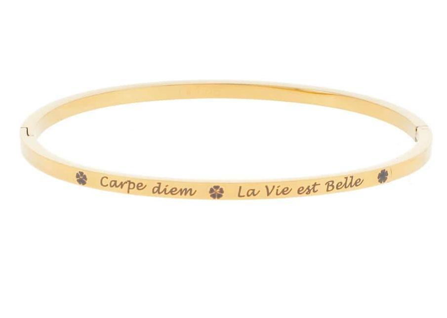 Bracelet jonc Message - CARPE DIEM - LA VIE EST BELLE - Acier Inoxydable - Ikita Paris