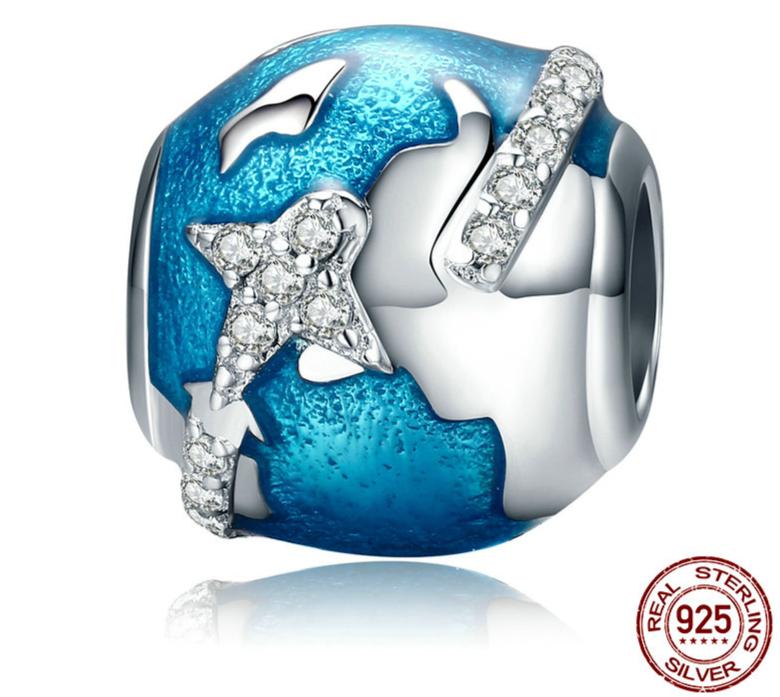 Charm Perle TOUR DU MONDE - Argent 925 - Zircon Cubique - Pour Bracelet & Collier