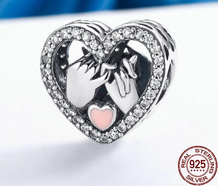 Charm POUR LA VIE - Argent 925 - Zircon Cubique - Email Rose - Pour Bracelet
