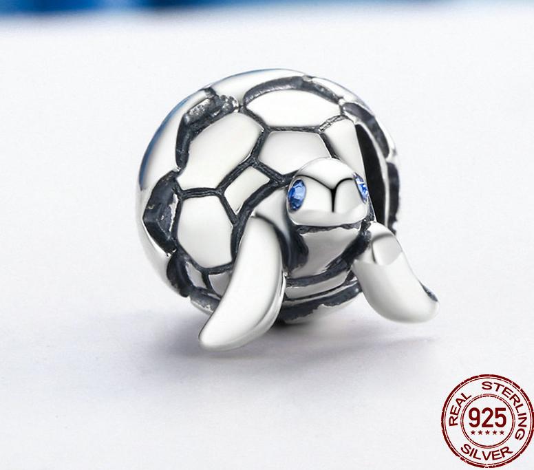 Charm BÉBÉ TORTUE - Argent S925 - Zircon Cubique - Style Pandora - Bleu - pendentif