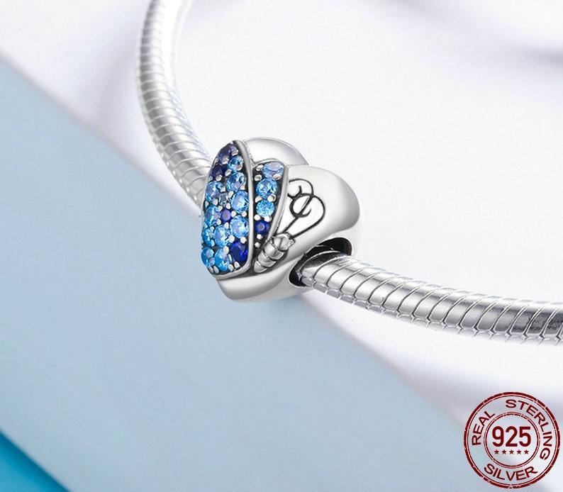 """Charm Pendentif PAPILLON CŒUR - """"You Are Beautiful"""" - Argent S925 - Zircon Cubique - Style Pandora - Bleu - bijou message amour tu es belle"""