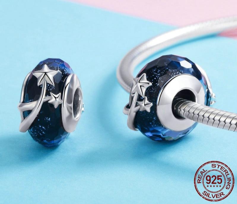 Charm ÉTOILES FILANTES - Argent S925 & Verre style Murano - Bleu - Pour  bracelet et collier