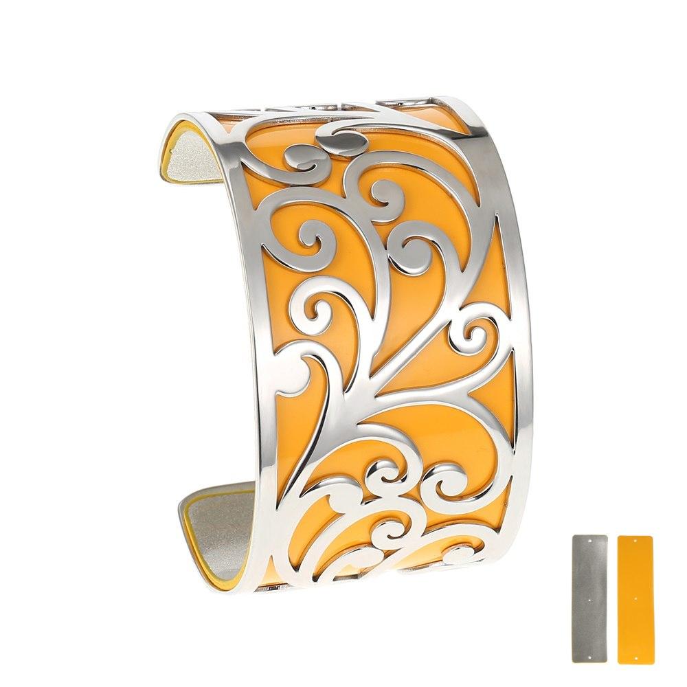 Manchette bracelet Interchangeable - ELEGANCE - Acier Inoxydable - Ajustable - Large - 40 mm + 1 CUIR RÉVERSIBLE - 20 coloris - Finition Argent