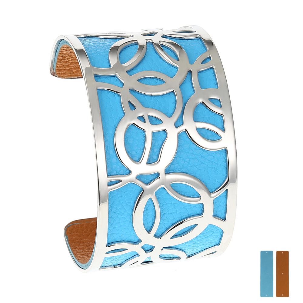 Manchette bracelet Interchangeable - BULLE - Acier Inoxydable - Ajustable - Large - 40 mm + 1 CUIR RÉVERSIBLE - 20 coloris - Finition Argent