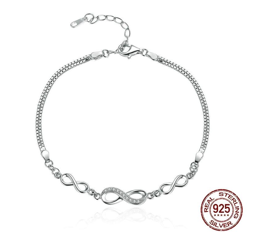 Bracelet ajustable TRÈS INFINI - Argent 925 - Pierres en Zircon Cubique - 25 cm