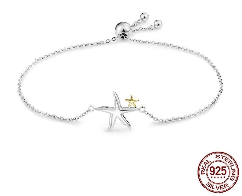 Bracelet coulissant DANSE DES ETOILES - Argent S925 - Platine - Fin - 25 cm