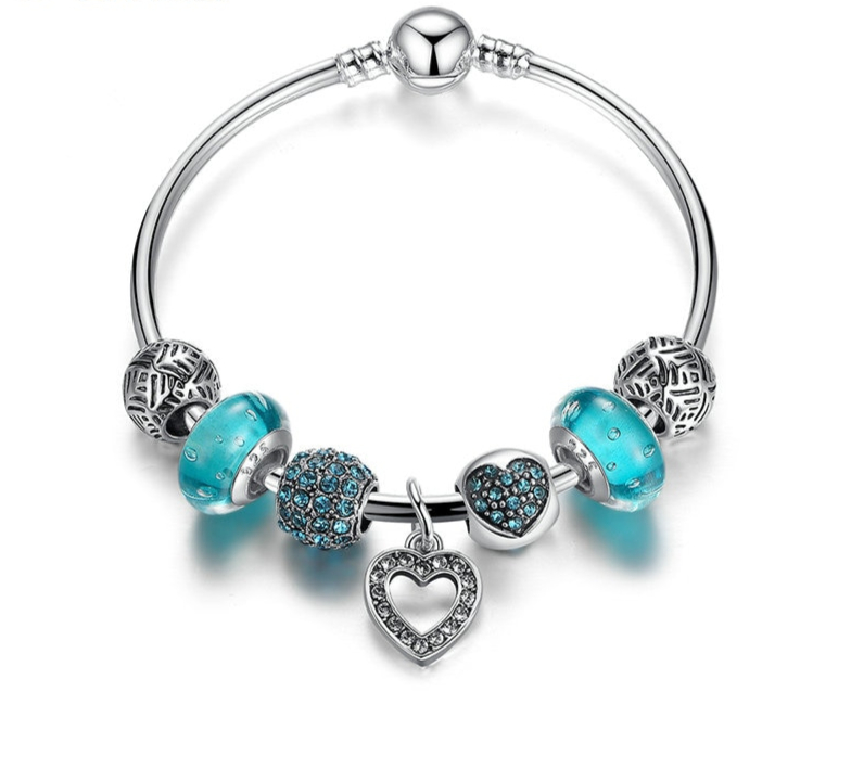 Bracelet jonc avec charms LOVE DREAM – Verre & Strass – Bleu ou Rose - 2  Tailles