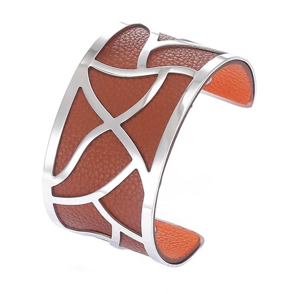 économiser 7809f 3aad4 Manchette bracelet Interchangeable - FLORALE - Acier Inoxydable - Ajustable  - Large - 40 mm + 1 CUIR RÉVERSIBLE - 20 coloris - Finition Argent