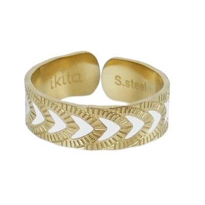 Bague GRAPHIQUE ETHNIQUE – Écailles d'or - Acier inoxydable – Émail Blanc – Finition Or – Ajustable - Ikita Paris
