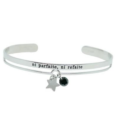 Bracelet jonc message - NI PARFAITE, NI REFAITE - Acier Inoxydable - bracelet avec pendentif étoile - Finition Argent – Ajustable – Ikita Paris