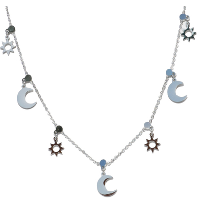 Choker Collier - LUNE SOLEIL - Pendentif étoile lune - Acier Inoxydable - 40 + 5 cm - Bijoux Ikita Paris