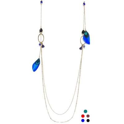 Collier Long - 2 rangs - PLUME & PIERRES - Acier Inoxydable Or - 102 + 5 cm - Bleu Rouge Marron - Ikita Paris