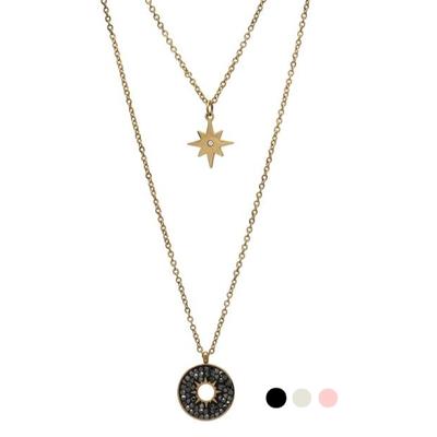 Collier 2 rangs - ETOILE & STRASS - Pendentif étoile du nord & Médaille - Acier Inoxydable Or - Noir Blanc Rose - 38 + 50 + 7 cm - Ikita Paris