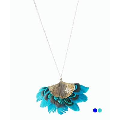 Collier long plume - GINCKO & ÉTOILE DE MER - Inox Or - 85 + 5 cm - Bleu - Ikita