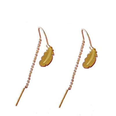 Boucles Oreilles PLUME OR - Acier Inoxydable Or - Pendantes arrière - ikita
