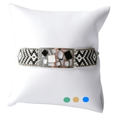 Bracelet Manchette Miyuki - MOTIFS GEOMETRIQUES - Acier Inoxydable - Finition Or et Argent - Ajustable - 16 + 2 cm - Ikita Paris