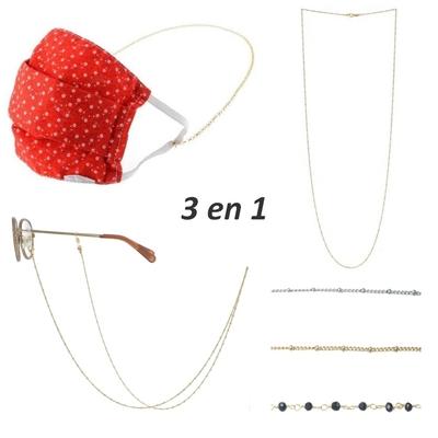Chaîne de lunettes porte masque - COLLIER 3 en 1 - Acier Inoxydable - Or & Argent - Cristaux swarovski - Ikita Paris