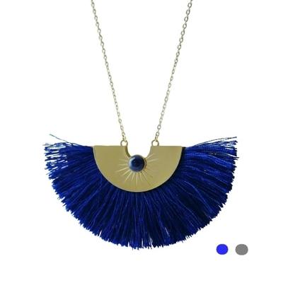Collier long - POMPON & PIERRE - Acier Inoxydable Or - Bleu lapis ou Gris - 85 + 5 cm - Ikita Paris